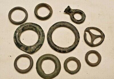 LOT OF 10 CELTIC BRONZE PROTO MONEY WEIGHT COINS / nice patine rare coin