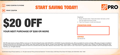 Home Depot coupon $25 Off $200 in-store Fast Delivery Ex 3/17