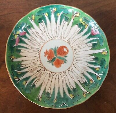 Antique Chinese Porcelain Plate Bowl Famille Vert Lettuce Cabbage 19th century