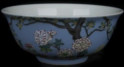 A Blue Ground Famille-Rose Bowl with Qianlong mark