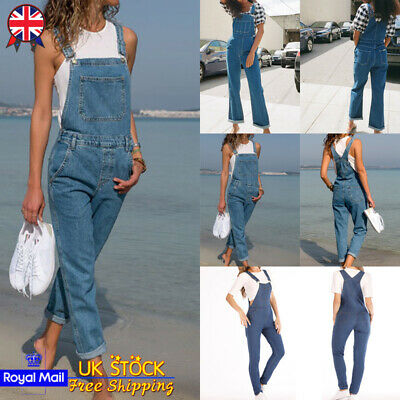 UK Womens Ladies Full Length Denim Dungarees Overall Casual Jeans Jumpsuit Pants