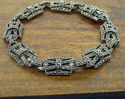 Vintage silver ANTIQUE ART DECO C. 1920's MARCASITE FILIGREE FLAPPER bracelet