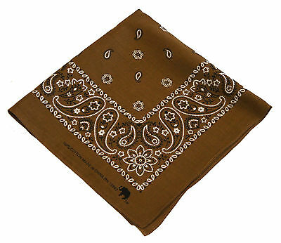 380b1ffabc4 Lot of 10 Bandana Scarf Brown Western Paisley Head Wrap Du Doo Rag Cover  Cotton