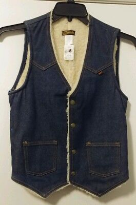 Key Jeans Imperial Vintage Denim Jean Vest Boys Sherpa Lined Washable