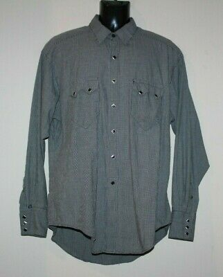 54bb8620 Rockmount Ranch Wear Diamond Snap Black Embroidered Western Shirt Mens M  Relaxed