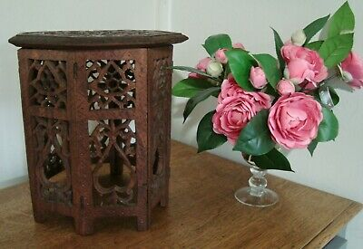 Small VINTAGE Carved Octagonal Table Display Stand ~ Folding