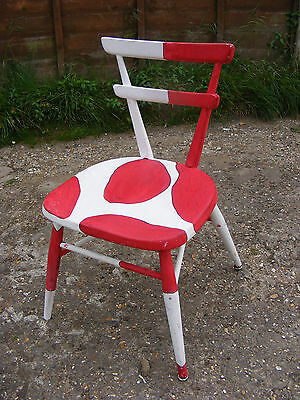 Hand Painted Mid Century Retro Old Vintage Ercol Stacking School Kids Chair