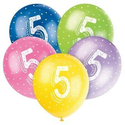 "6 x 10th Birthday Various Colours Mix 11/"" Latex Balloons Child/'s Party Age 68479"