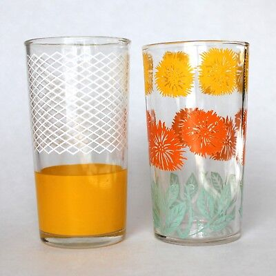 """2 Vintage Swanky Swigs Glass 4-3/4"""" White Lines Yellow Flowers Floral Dominion"""