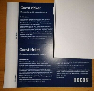 Two Odeon Cinema Tickets IMAX 3D Etc Guest Ticket