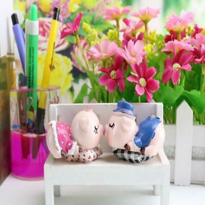 Cute Hand Paint Pig Statues Pink Kiss Pig Toys Wedding Gift Piggy Figur JA