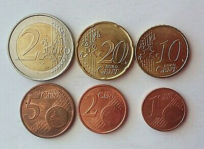 2002 German Euro coins 2 dollar, 20, 10, 5, 2 and 1 cent