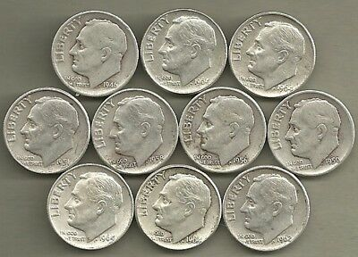 Roosevelt Dimes - US 90% Silver Coin Lot - 10 Circulated Coins #4103