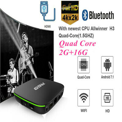 R69 Smart Home TV Box H3 Quad Core 2G+16G Wifi HD Android7.1 USB2.0 Media Player