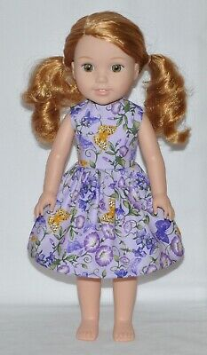 Lavender Butterfly Doll Dress Clothes Fits American Girl Wellie Wisher Dolls