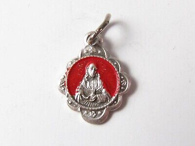Tiny Scapular Medal Vintage Religious Medal Charm Red Painted Sacred Heart Jesus