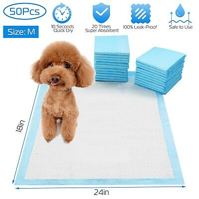 "50 Pcs 24"" x 18"" M Pet Dog Training Pads Puppy Pee Pads Cat Wee Mats Potty-Train"