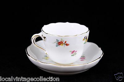 Meissen Hand Painted Demitasse Cup And Saucer Set – Floral Motif