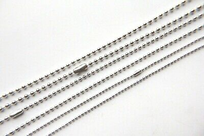 1.5mm / 2mm / 2.4mm Silver Tone Coloured Ball Chain Findings Necklace 70cm Long