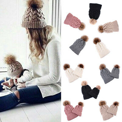 ff72ea7d5 NEW WOMEN DOUBLE Fur Pom Bobble Knit Beanie Hat Cap Ski Winter Warm ...