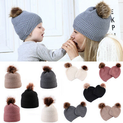 aca03f076 WOMEN'S WINTER POM Pom Visor Beanie Knit Hat Cap Fur Crochet Cold ...