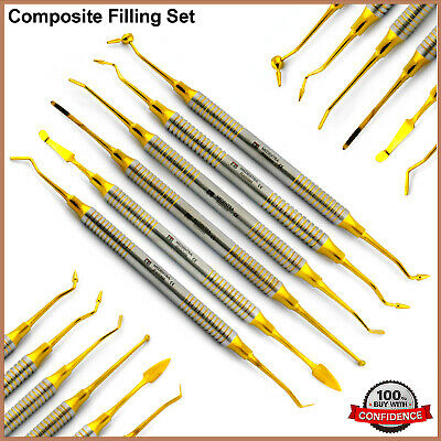 Dental Composite Filling Instruments Set Golden Coated Plugger Spatula Set of 6