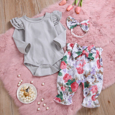 3PCS Newborn Kids Baby Girl Outfit Clothes Set Romper Tops+Floral Pants+Headband
