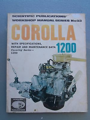 Toyota Corolla 1200 With 3K Engine Workshop Manual Late 1960'S Early 1970'S