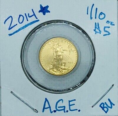 2014 American Gold Eagle 1/10th oz Coin New in Coin Capsule $5 BU Better Date