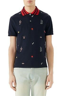 f0f405745 100% Authentic New Men Gucci Embroidered Pique Blue Polo Short Sleeve Shirt Us  L