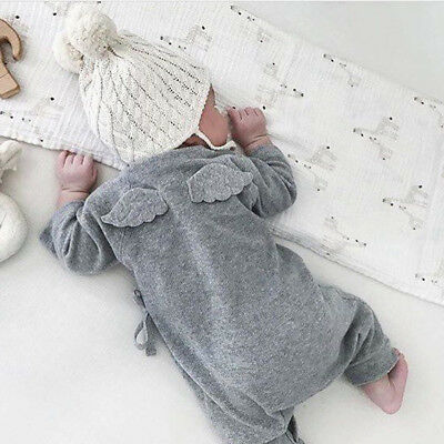 Newborn Infant Baby Boy Girl Wing Jumpsuit Romper Bodysuit Cotton Clothes Outfit