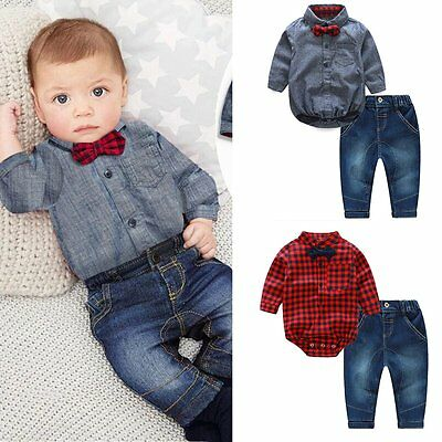 2pcs Newborn Kids Baby Boys Romper Jumpsuit Tops+Jeans Pants Outfits Clothes Set
