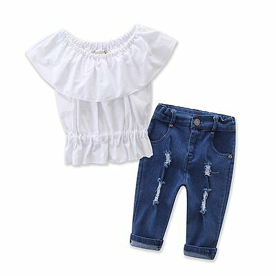 Toddler Kids Baby Girls Summer Outfits Clothes T-shirt Tops+Pants Jeans 2PCS Set