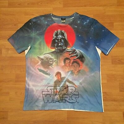 9a7623e90b9 Star Wars The Empire Strikes Back Sublimated Graphic Print T-Shirt White  Mens XL