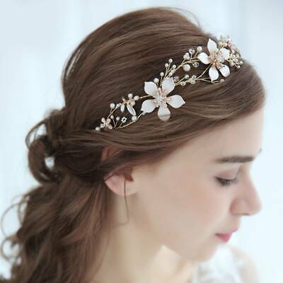 Gold Garland Flower Vine Wedding Bridal bride piece hair Accessories Headband