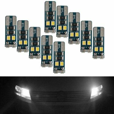 10 x Canbus T10 194 168 W5W 2835 6 LED SMD White Car Side Wedge Light Lamp Bulb