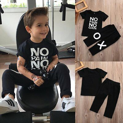 2pcs Toddler Kids Baby Boy Summer T-shirt Tops+Pants Trousers Outfit Clothes Set