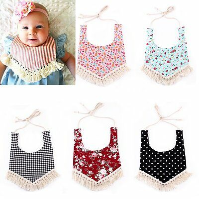 Infant Kid Baby Unisex Tassel Feeding Saliva Towel Dribble Triangle Bandana Bibs