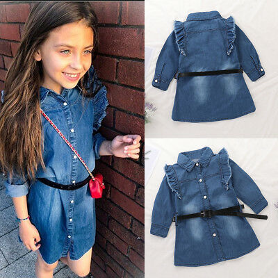 Toddler Baby Girls Kids Clothes Long Sleeve Party Denim Jeans Tops T-Shirt Dress