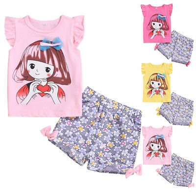 2PCS Toddler Kids Baby Girl Summer Clothes T-shirt Tops+Floral Pants Outfits Set