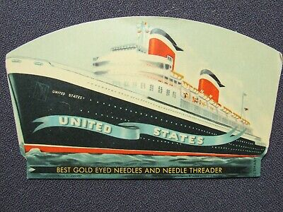 """Vintage Needle Case Collectable """"United States Ship"""""""