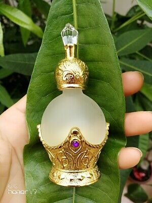 15ml Vintage Glass, metal & Crystal Refillable Perfume Bottle Empty