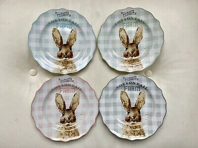 (4)NWT 222 Fifth Cottontail Farm Easter Bunny Rabbit Appetizer Dessert Plates