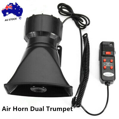 Black 12V 300dB Air Horn Dual Trumpet Loud For Motorcycle Truck Train Boat Car