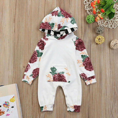 Newborn Infant Baby Boy Girl Floral Romper Jumpsuit Hood Bodysuit Clothes Outfit