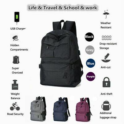 Men's Women Laptop Backpack Rucksack Work Travel Bags Earphone USB Charging Port