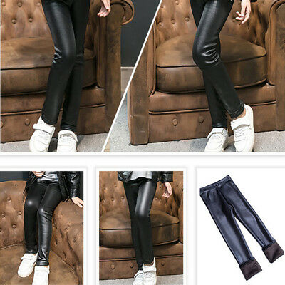 Girl Kids Winter Thick Warm Leather Leggings Fleece Lined Thermal Pants Trousers