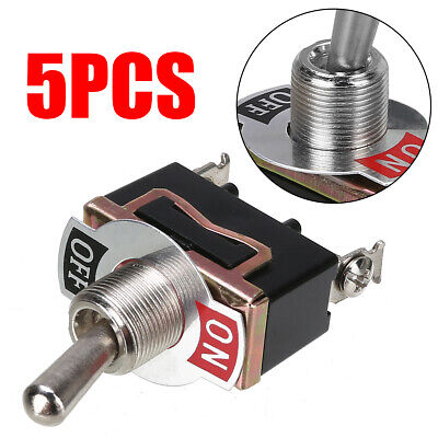 5pcs 12V 2 Pins Heavy Duty Toggle Flick Switch ON/OFF Car Dash Light Metal