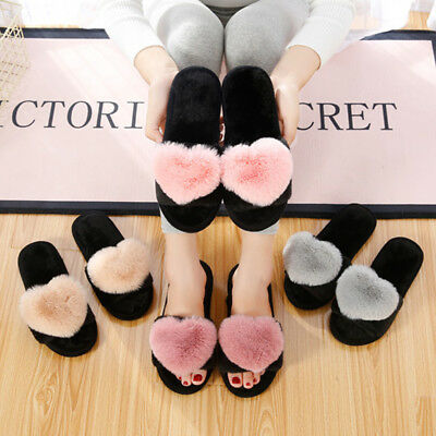 Women Heart Fur Slide Slippers Fuzzy Cozy House Indoor Shoes Scuff Mules Sandals