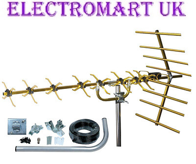48 Element High Gain Digital Freeview Gold Tv Aerial Kit Built In 4G Filter